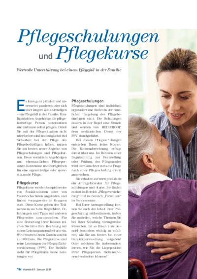 Vorschaubild Pflegeschulungen und Pflegekurse – Hilfe bei einem Pflegefall in der Familie